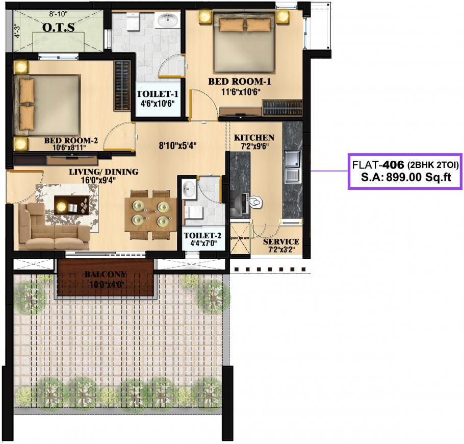 Kalpataru Royale Floor Plan: 2 BHK Unit with Built up area of 899 sq.ft 1