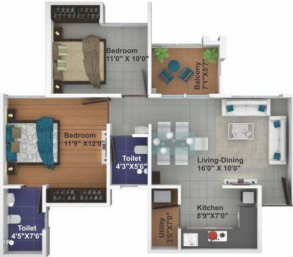 Saheel Itrend Homes Phase II Wing B Floor Plan: 2 BHK Unit with Built up area of 563 sq.ft 1