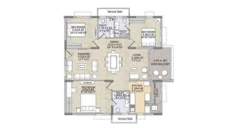 Kalpataru Residency Floor Plan: 3 BHK Unit with Built up area of 1495 sq.ft 1