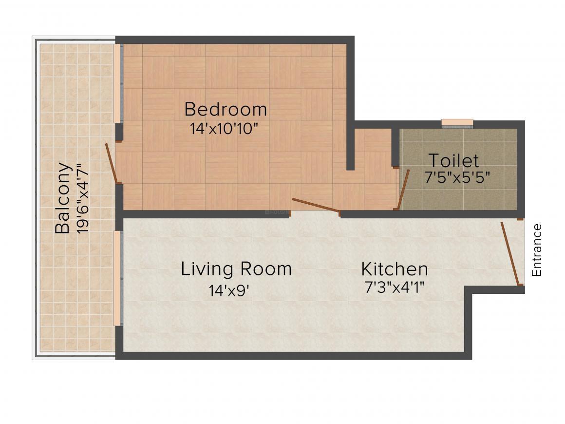 Floor Plan Image of 500.0 - 700.0 Sq.ft Studio Studio Apartment for buy in Unnati Vesta Suites