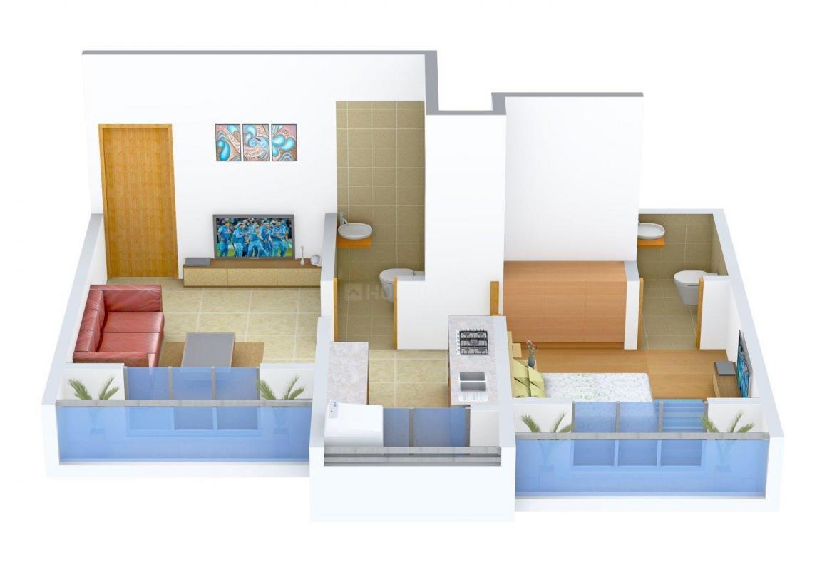 Floor Plan Image of 570.0 - 640.0 Sq.ft 1 BHK Apartment for buy in Shree Nidhi Sahakar Residency