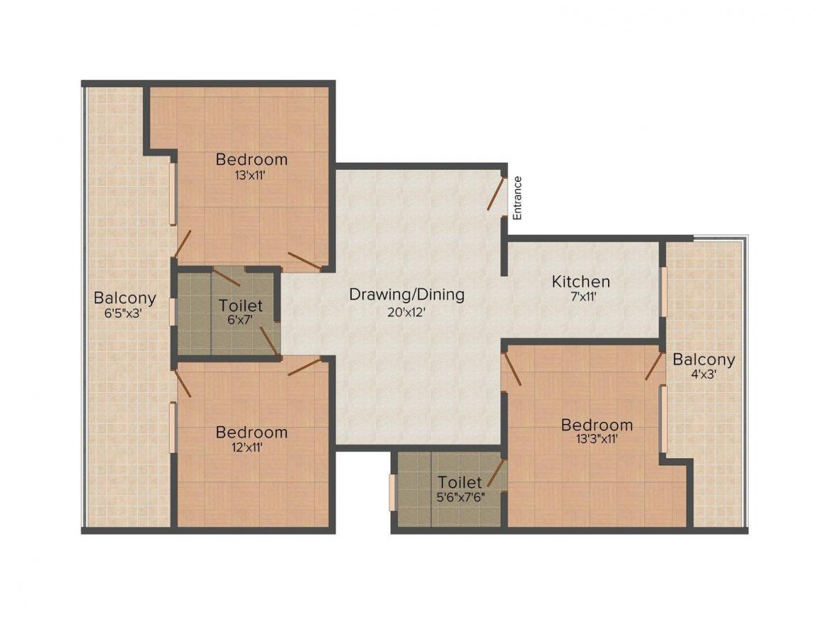 Gupta Floors 11 Floor Plan: 3 BHK Unit with Built up area of 1700 sq.ft 1