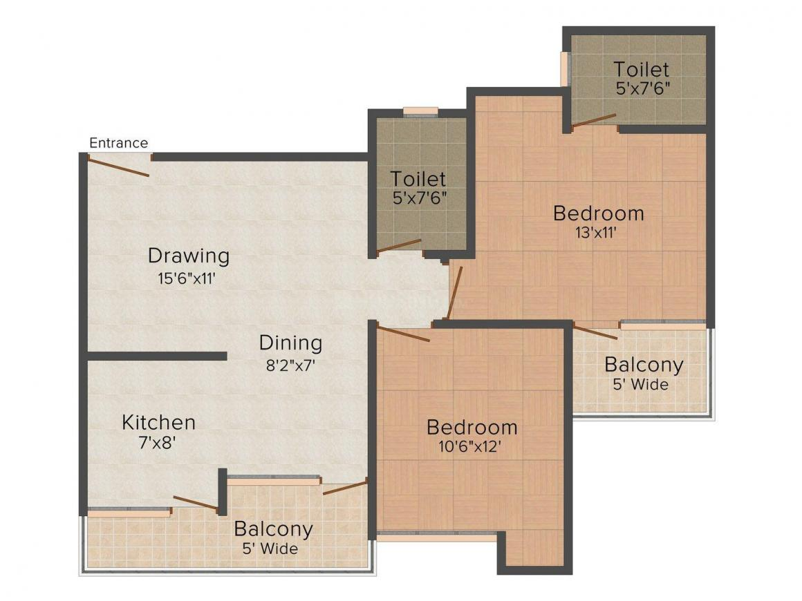 Gyanesh Royal Tulip Floor Plan: 2 BHK Unit with Built up area of 1100 sq.ft 1