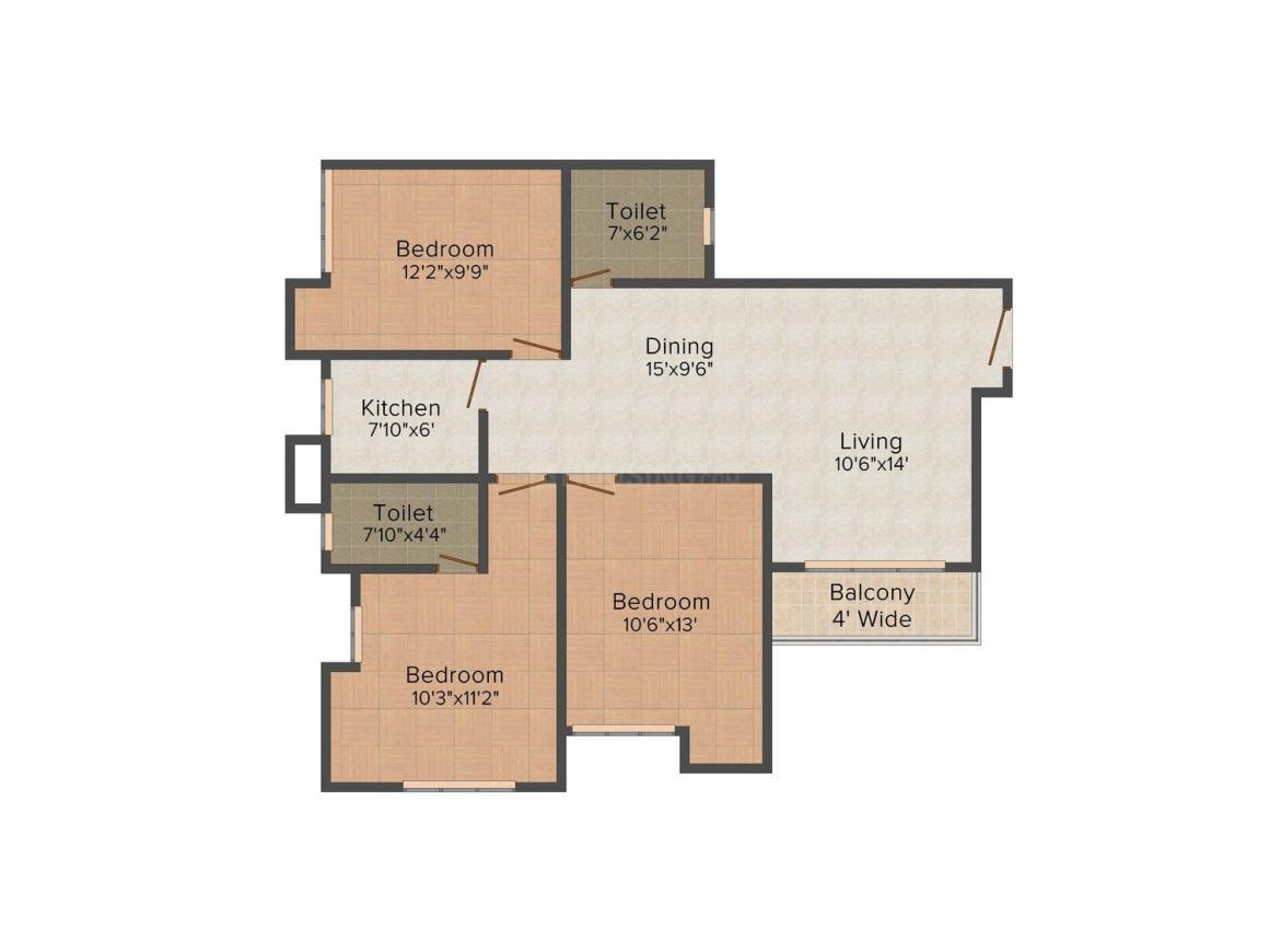 Floor Plan Image of 1200.0 - 1600.0 Sq.ft 3 BHK Apartment for buy in Webstar Sapphire Residency