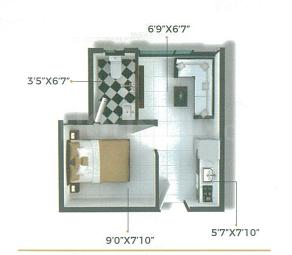 Xrbia Chembur Central Ivy B Floor Plan: 1 BHK Unit with Built up area of 189 sq.ft 2