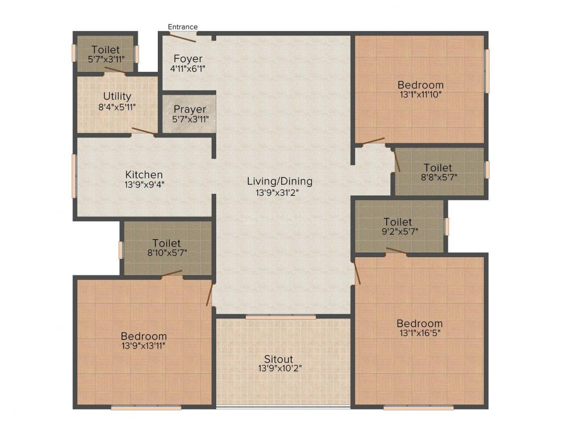 Floor Plan Image of 0 - 2633 Sq.ft 3 BHK Apartment for buy in Sobha Grandeur
