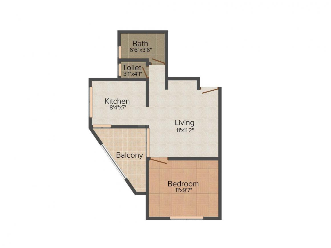 Floor Plan Image of 448 - 891 Sq.ft 1 BHK Apartment for buy in Taiba Classic