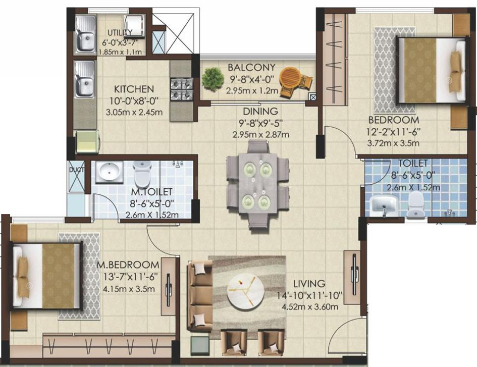 Mahaveer Celesse Floor Plan: 2 BHK Unit with Built up area of 787 sq.ft 1