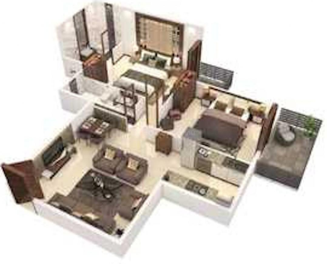 Signature Global Roselia 2 Floor Plan: 2 BHK Unit with Built up area of 514 sq.ft 1