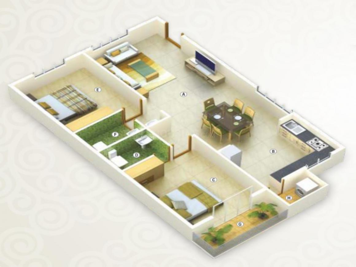 SNR Mayfair Floor Plan: 2 BHK Unit with Built up area of 1185 sq.ft 1