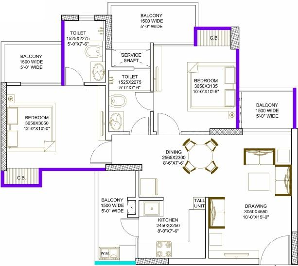 Civitech Strings Floor Plan: 2 BHK Unit with Built up area of 615 sq.ft 1