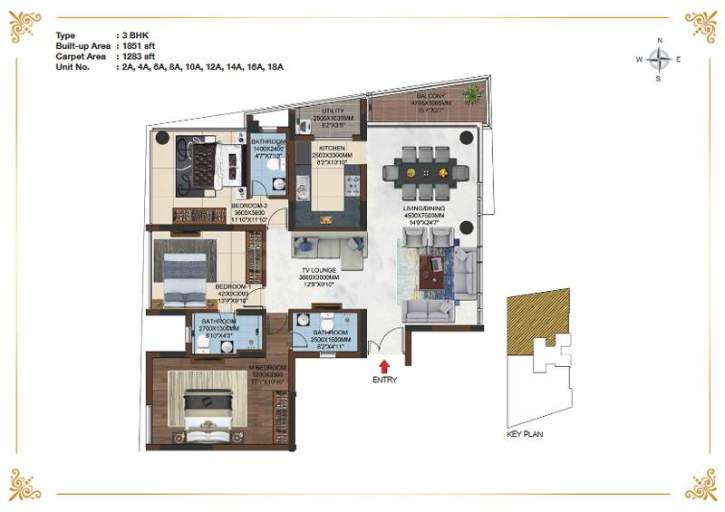 Casagrand Olympus Floor Plan: 3 BHK Unit with Built up area of 1851 sq.ft 1