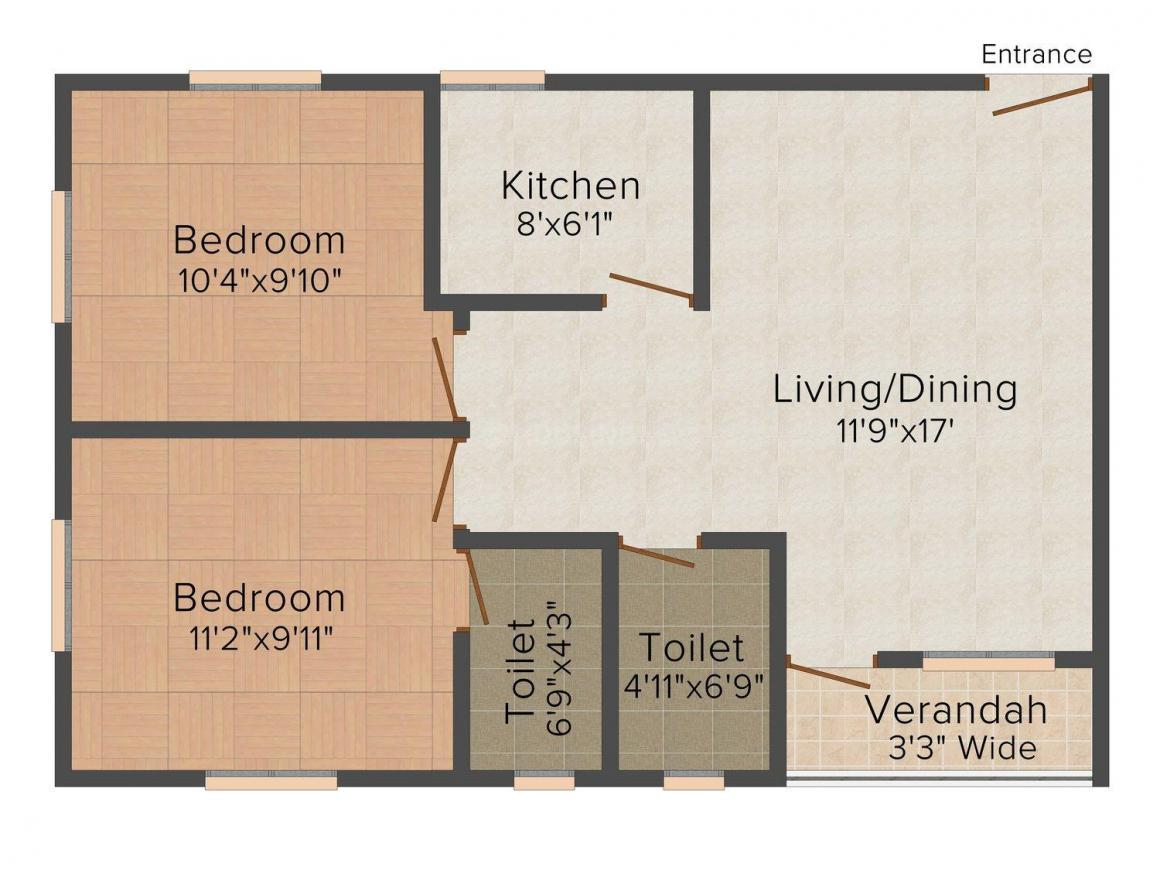 Floor Plan Image of 892.0 - 1210.0 Sq.ft 2 BHK Apartment for buy in Skyline Bliss