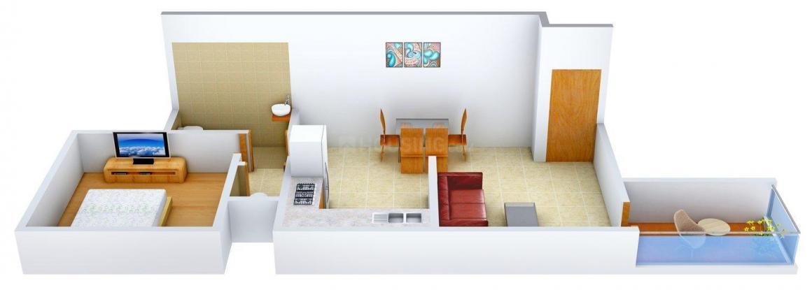 Abhijit Pratik Apartment Floor Plan: 1 BHK Unit with Built up area of 670 sq.ft 1