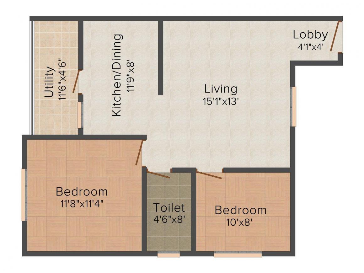 Sareen Mannat Apartment Floor Plan: 2 BHK Unit with Built up area of 835 sq.ft 1