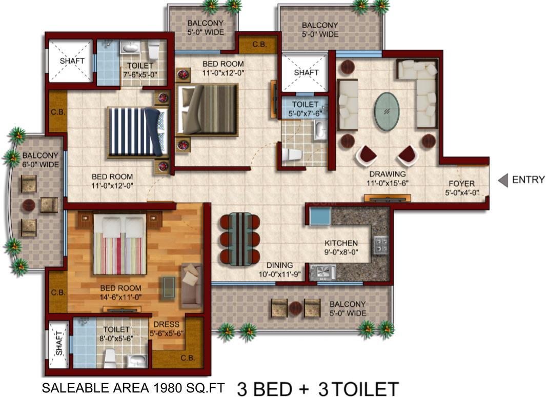 Samridhi Daksh Avenue Floor Plan: 3 BHK Unit with Built up area of 1980 sq.ft 1
