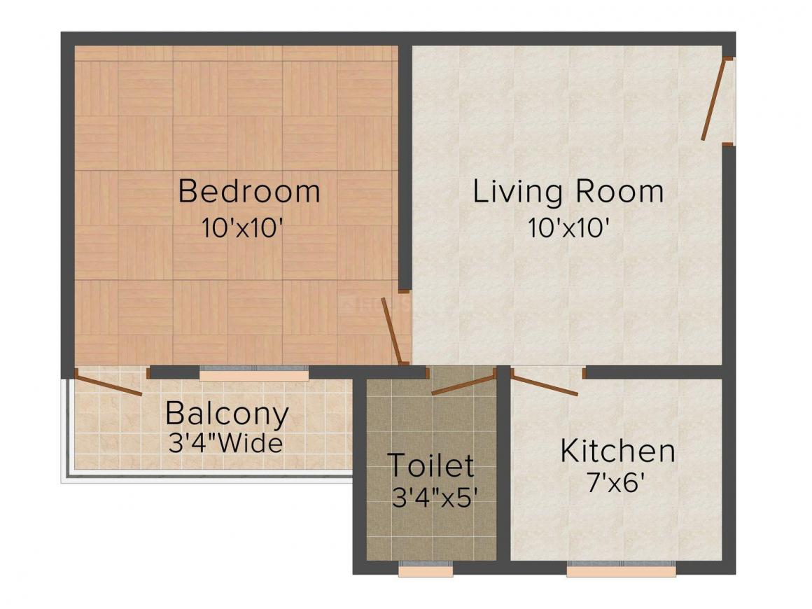 Floor Plan Image of 600 - 800 Sq.ft 1 BHK Apartment for buy in Shri Parasnath Himanshu Wings