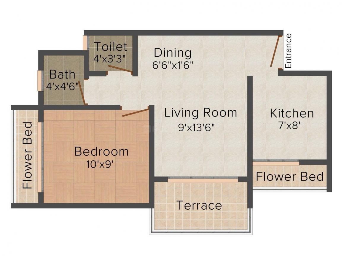 Floor Plan Image of 630.0 - 665.0 Sq.ft 1 BHK Apartment for buy in R.V Saikrupa Residency