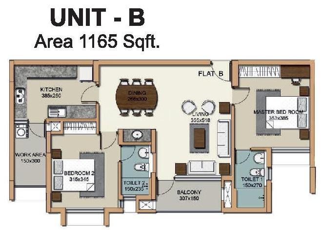 Hilite Residency Floor Plan: 2 BHK Unit with Built up area of 1165 sq.ft 1
