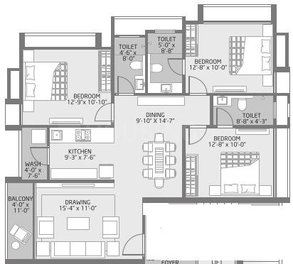 Shraddha Soch Floor Plan: 3 BHK Unit with Built up area of 930 sq.ft 1