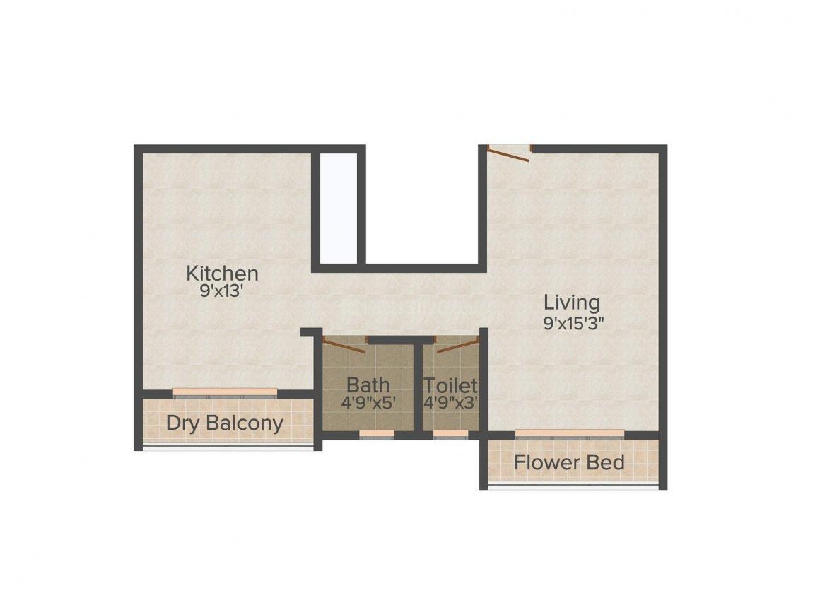 Redundant Virar Rajlaxmi Apartment Floor Plan: 1 BHK Unit with Built up area of 343 sq.ft 1