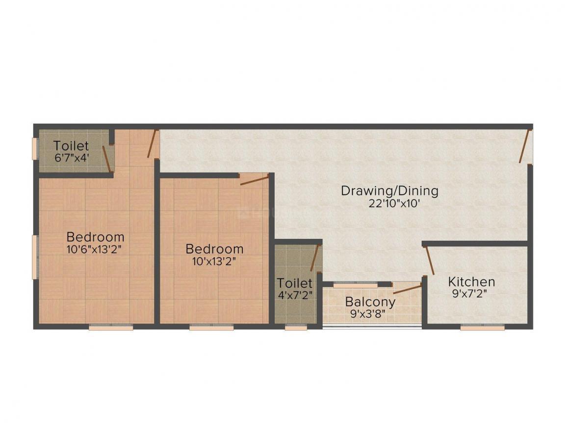 Om Dev Sri Ram Kutir Floor Plan: 2 BHK Unit with Built up area of 1075 sq.ft 1