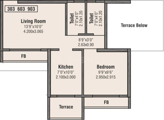 Bhumiraj Hills Tower 2 And 3 Floor Plan: 1 BHK Unit with Built up area of 296 sq.ft 1
