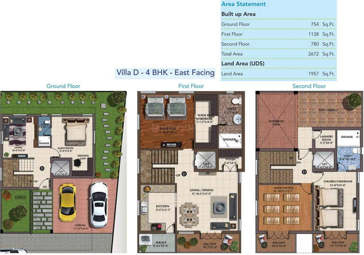 Poomalai The Wave Floor Plan: 4 BHK Unit with Built up area of 2672 sq.ft 1