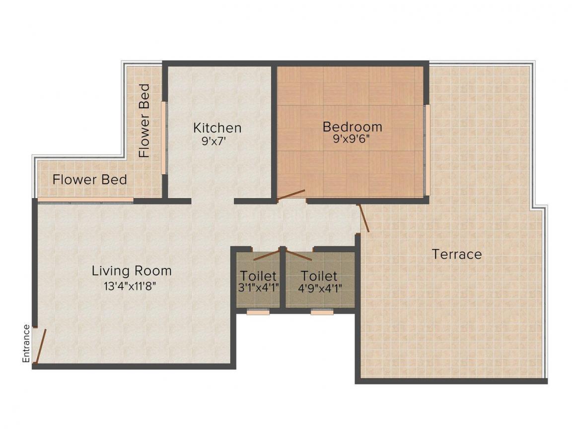 Floor Plan Image of 499.0 - 590.0 Sq.ft 1 RK Apartment for buy in Unnati Apartment