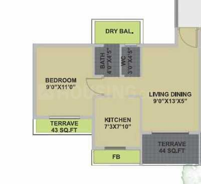 Bhairaav Goldcrest Residency Phase 2 Floor Plan: 1 BHK Unit with Built up area of 277 sq.ft 1