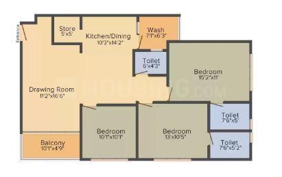 Krishna Arpan Mount Floor Plan: 3 BHK Unit with Built up area of 1890 sq.ft 1
