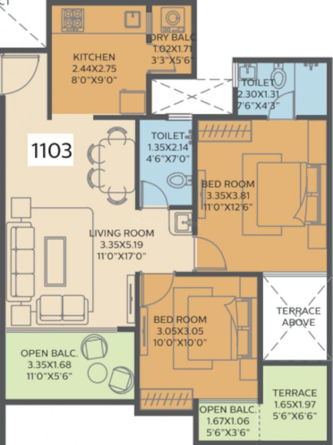 Bhaktamar Residency Floor Plan: 2 BHK Unit with Built up area of 781 sq.ft 1