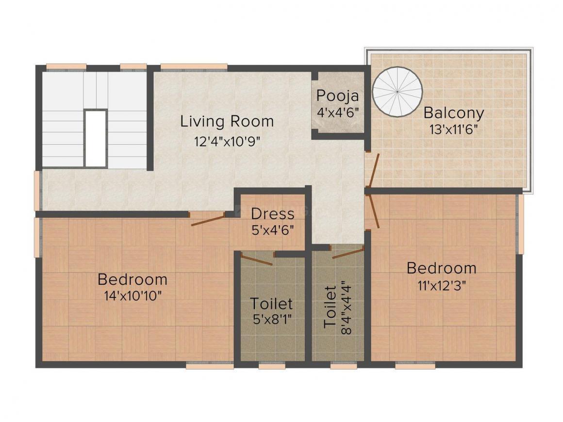 Harini Harini Mansion Floor Plan: 3 BHK Unit with Built up area of 1849 sq.ft 2
