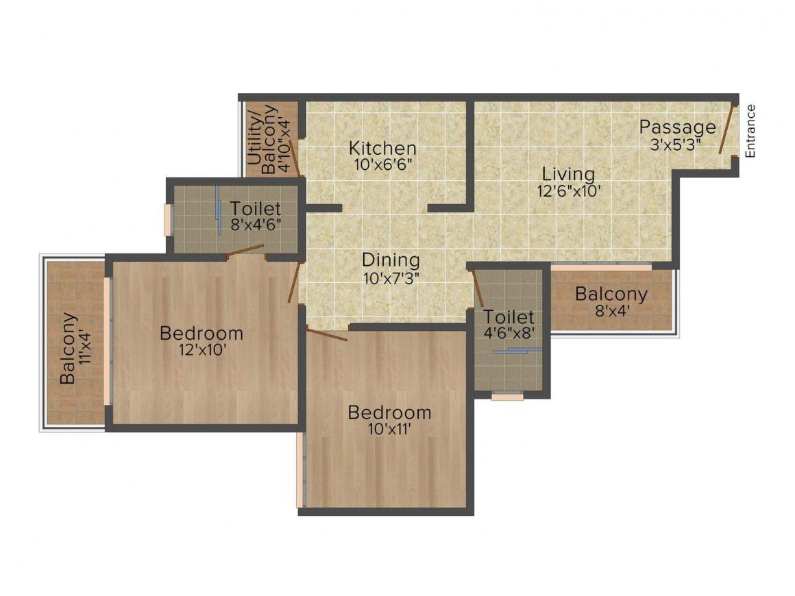 Floor Plan Image of 935 - 1810 Sq.ft 2 BHK Apartment for buy in Mahagun Mywoods