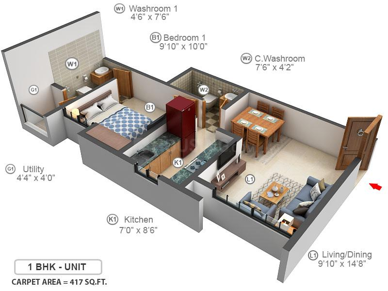 Lodha Upper Thane Floor Plan: 1 BHK Unit with Built up area of 417 sq.ft 1
