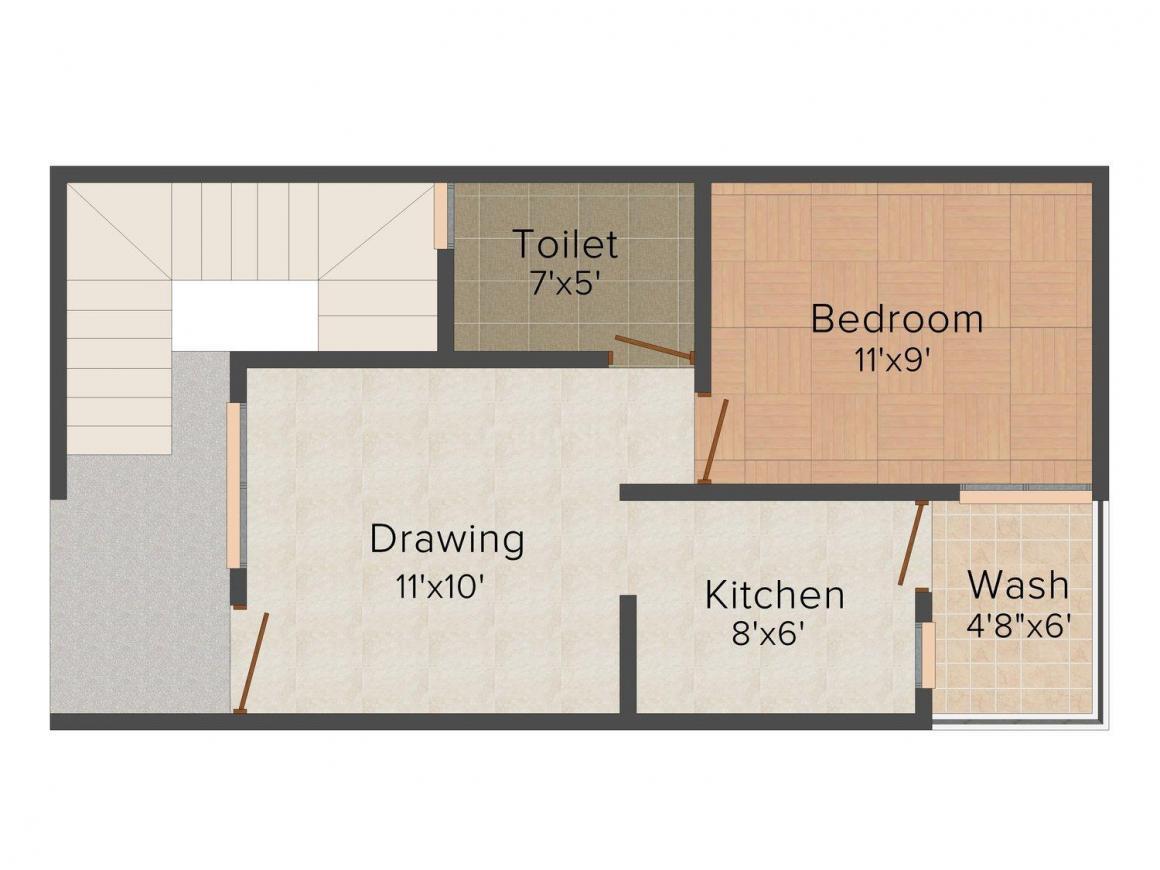 Floor Plan Image of 480.0 - 1011.0 Sq.ft 1 BHK Row House for buy in Shri Parasnath Himanshu Mega City