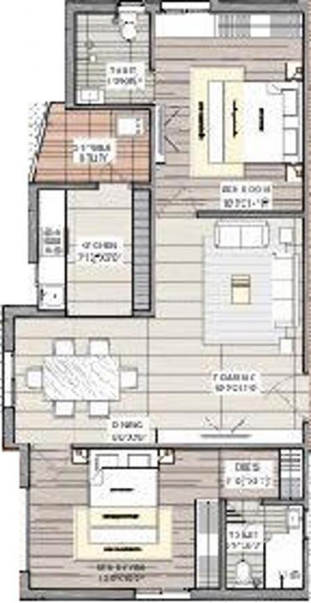 Floor Plan Image of 1150.0 - 1525.0 Sq.ft 2 BHK Apartment for buy in Nischal Shanti Nilaya