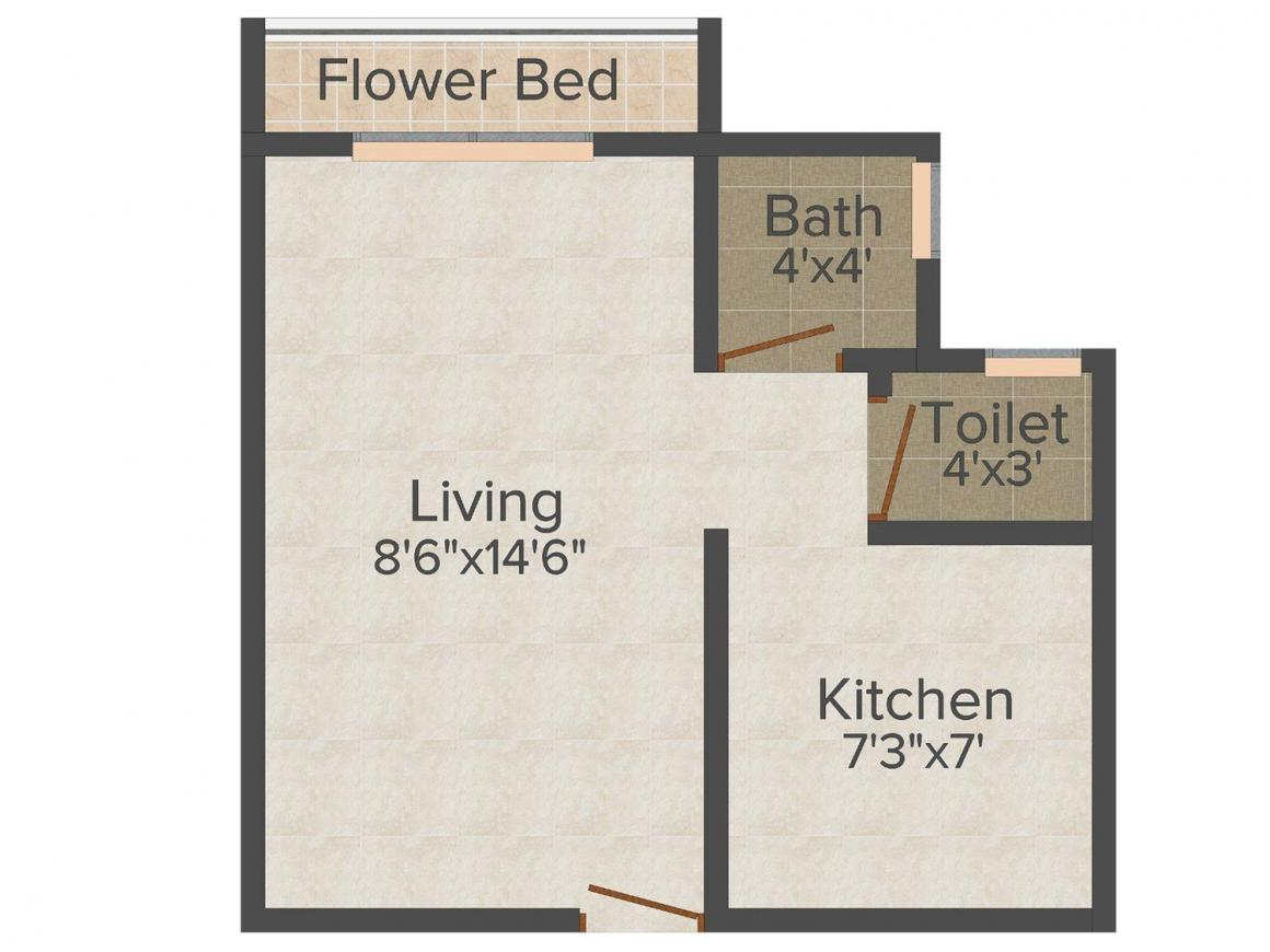 Floor Plan Image of 370 - 575 Sq.ft 1 RK Apartment for buy in IMS Flora Heritage