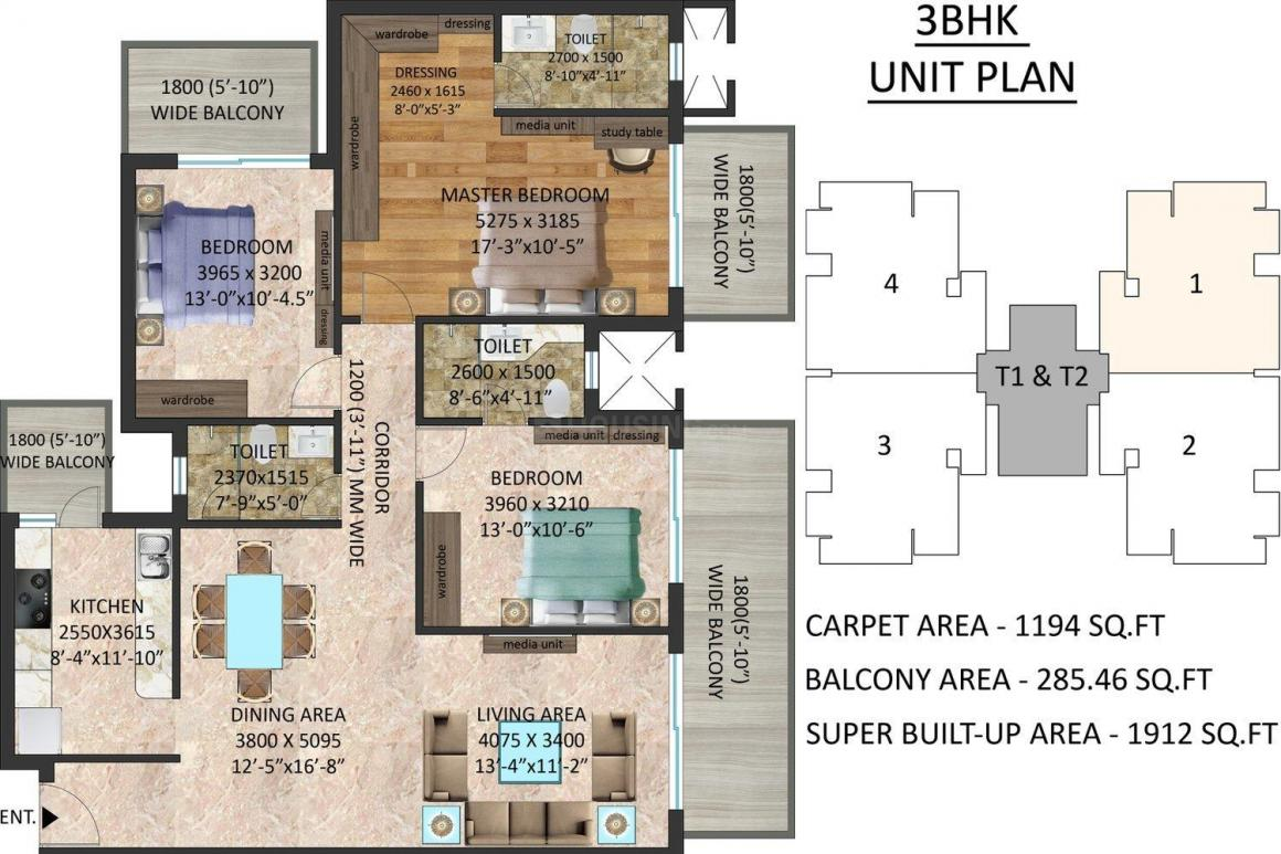 Stanford Amaara Residences Floor Plan: 3 BHK Unit with Built up area of 1912 sq.ft 1