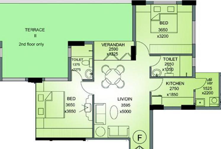 Merlin Merlin Regency Floor Plan: 2 BHK Unit with Built up area of 1025 sq.ft 1