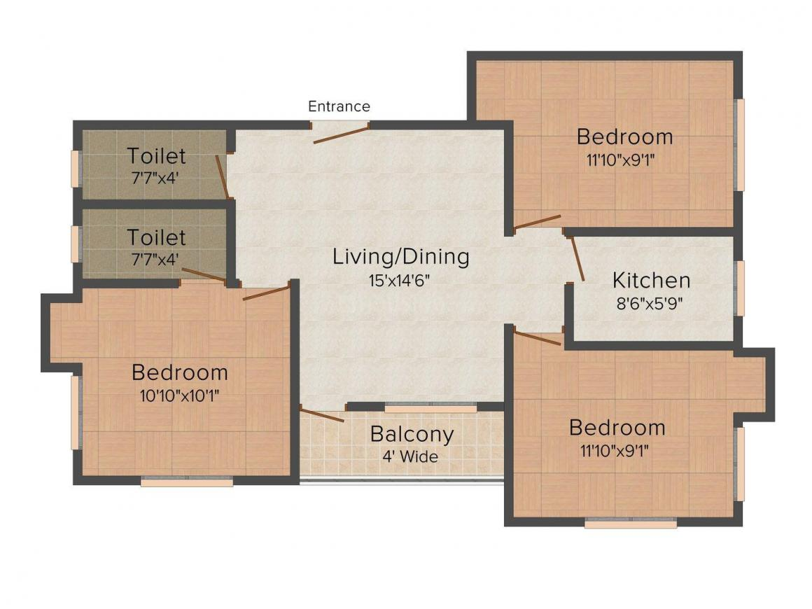 Floor Plan Image of 1202.0 - 1208.0 Sq.ft 3 BHK Apartment for buy in Biswas Jeet Glory Phase II