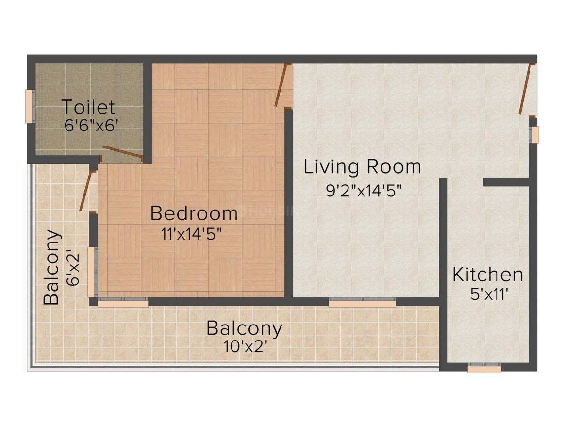 Floor Plan Image of 0 - 450 Sq.ft 1 BHK Independent Floor for buy in Shri Ganesh Homes - 1