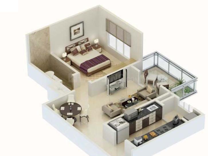 Karia Konark Meadows Floor Plan: 1 BHK Unit with Built up area of 801 sq.ft 1
