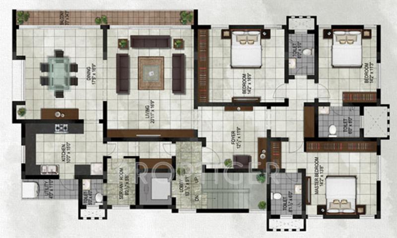 Chaitanya Chitrita Floor Plan: 3 BHK Unit with Built up area of 1200 sq.ft 1