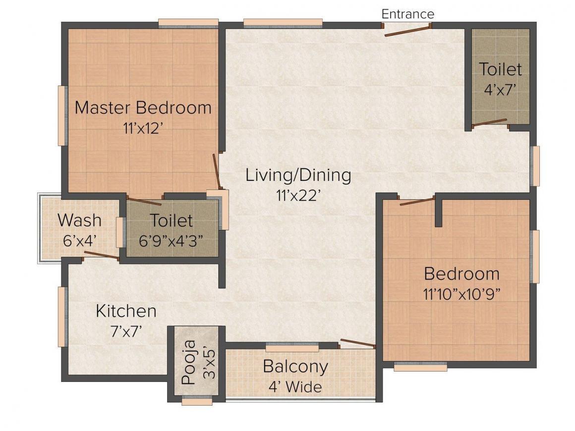 Floor Plan Image of 1080 - 1240 Sq.ft 2 BHK Apartment for buy in Suvarna RKS Ishvarya