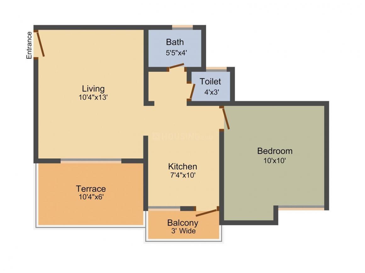 Floor Plan Image of 608 - 808 Sq.ft 1 BHK Apartment for buy in NK Apurva Green Castle
