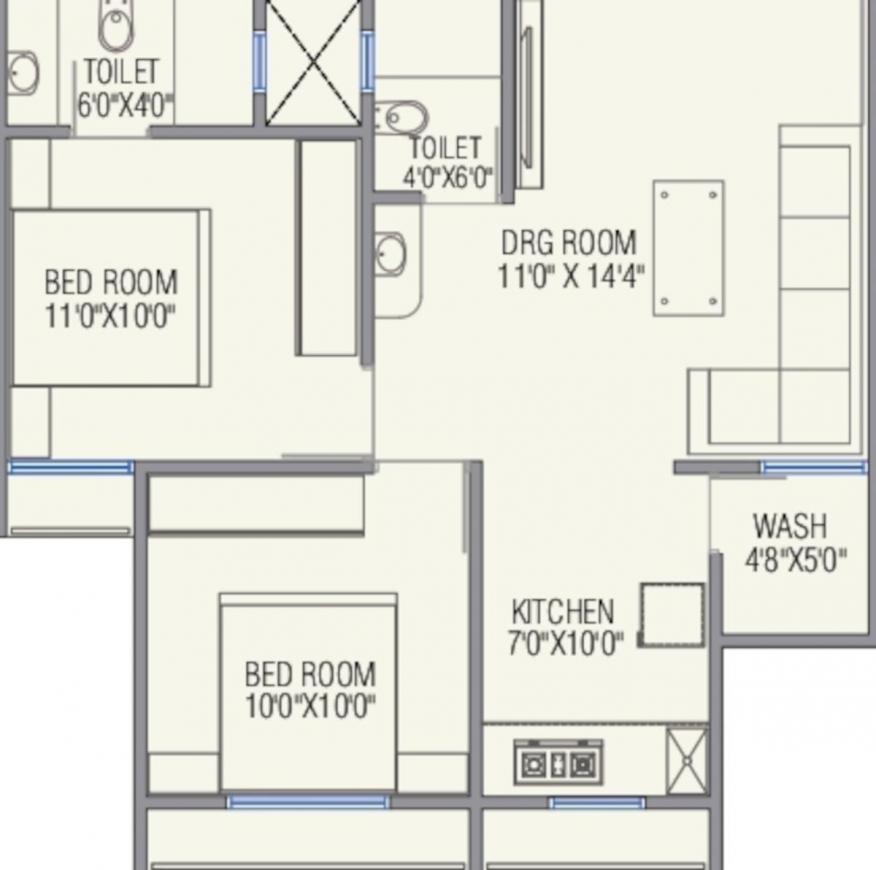 Prayag Residency Floor Plan: 2 BHK Unit with Built up area of 540 sq.ft 1