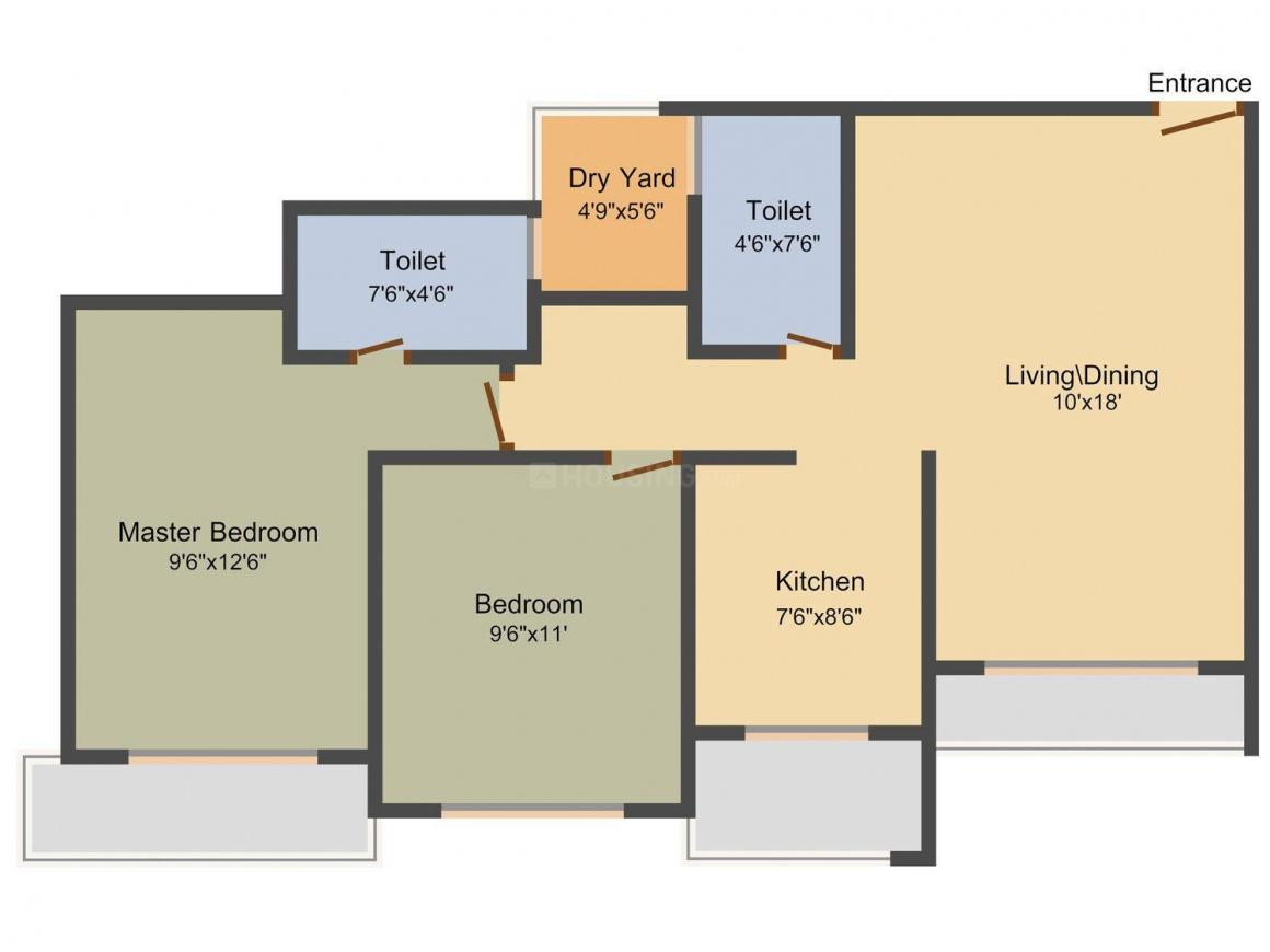 Floor Plan Image of 745 - 1130 Sq.ft 1 BHK Apartment for buy in RNA Corp The Centre Park