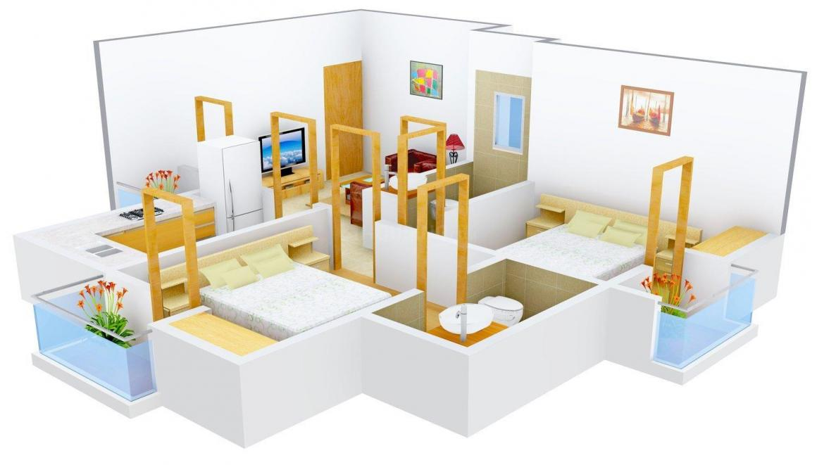 Floor Plan Image of 820 - 1750 Sq.ft 2 BHK Apartment for buy in Rudra Enclave