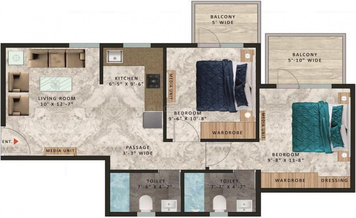 Pareena Om Apartments Floor Plan: 2 BHK Unit with Built up area of 561 sq.ft 1